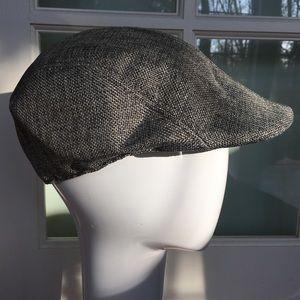 NEW linen newsboy golf sun hat cool summer grey